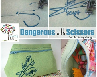 Dangerous with Scissors Machine Embroidery Design  - INSTANT DOWNLOAD