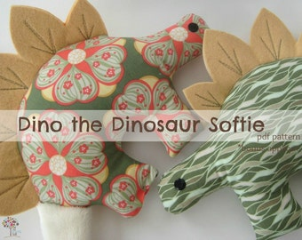 Dino the Dinosaur Pattern -INSTANT Download PDF File  with Bonus Applique