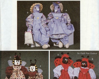 "Simplicity UNCUT Crafts Pattern 7119 - 21"" Bluebird, Ladybug, Bee and Clothes"