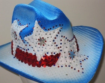 4 th of July Patriotic Crystal Dress Cowgirl, Baby girl RWB Pageant Outfit of choice Hat ,fourth , Independence Day North American made
