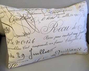 FRENCH Script  accent lumbar 12x18  Pillow