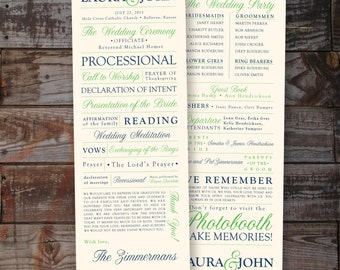 Custom Modern Wedding Program, Contemporary, formal, elegant - 1 or 2 sided