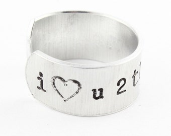 I Love You to the Moon and Back Adjustable Ring - Hand Stamped Ring - Custom Ring - Mother's Day - Size 5 6 7 8 9 10 11 12 13 14 15 Gift