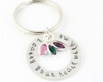 Valentine's Day Gift for Mom - Personalized Birthstone Keychain - Key Chain - Custom Key Ring - Sterling Silver Keychain