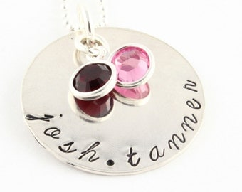 Mother's Day Gift for Mom - Personalized Birthstone Hand Stamped Necklace - Custom Necklace - Birth Stone Necklace - Gift for Grandma