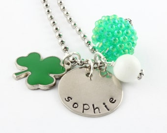 Personalized St. Patrick's Day Clover Charm Necklace for Girls - Hand Stamped St. Paddy's Day Gift - Luck of the Irish