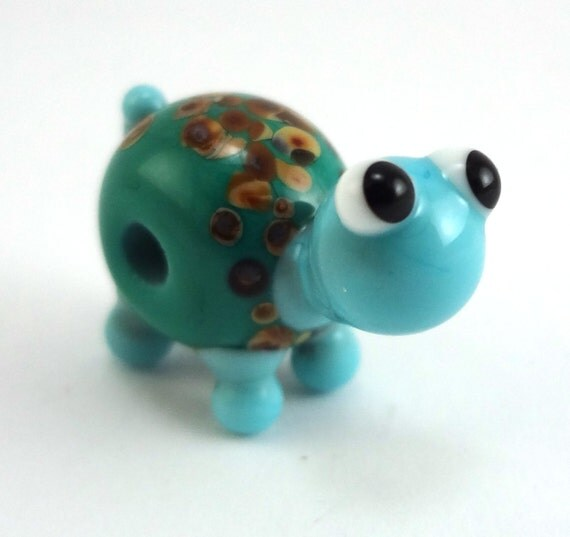 Teal Green Turtle Lampworked Glass Figurine