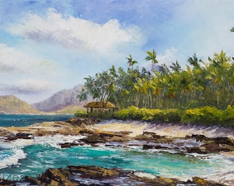 Ko Olina Paradise Cove Hawaii Original Oil Painting 12x24 Art Artwork Tropical Disney Aulani Hawaiian Palm Tree Lagoon Vacation Resort Relax