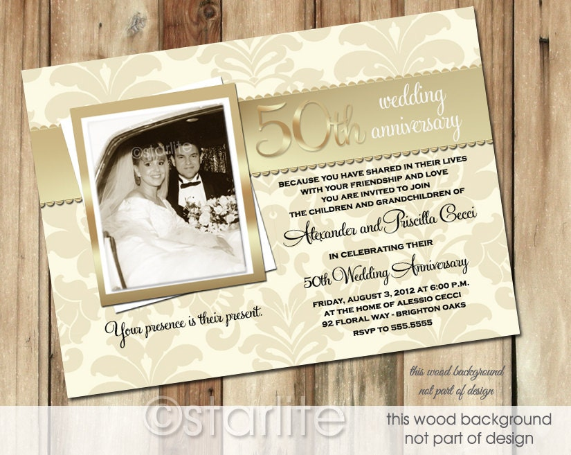 50th Wedding Invitation Templates: Golden 50 Anniversary Photo Invitation 50th Wedding By