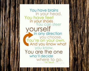 8x10 Dr Seuss You are the One Digital  Print