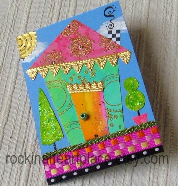 ACEO - original art card collage, Little Wonky House in aqua and pink