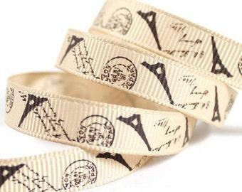"Paris Grosgrain 3/8"" Ribbon 3 yards Eiffel Tower French Postmark Ribbon"