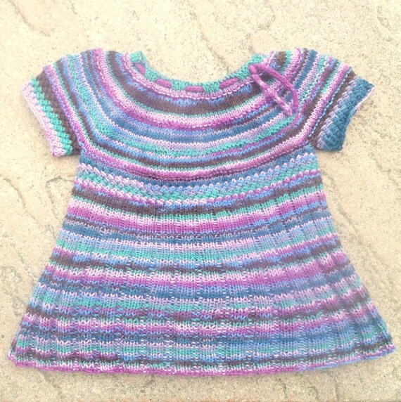Seamless Top Down Knitting Pattern - Tunic Jumper Sweater Dress for Baby &...