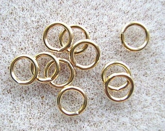 Jumprings, 14k Gold Filled, Round,8mm,CLOSED,  040, 18 GAUGE,  Soldered, 10 or 25 Pieces, Heavy Weight.,I