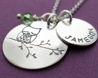 Baby Owl Necklace in Sterling Silver - Child's Name Birthstone Necklace - Custom Charm Jewelry by Eclectic Wendy Designs