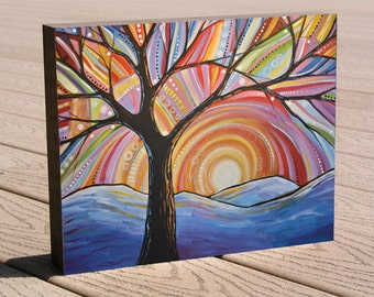 """Fun colorful tree art print ...8 x 10 mounted to a deep birch panel...""""Mountain Majesty"""", landscape art, no framing needed"""