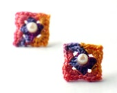 Crochet Earrings Mini Granny Square Stud Earrings Lavender Tangerine Rose Fuchsia