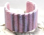 On Sale Marked Down 25% Crochet Cuff Bracelet Pink Wisteria Cafe Liqueur