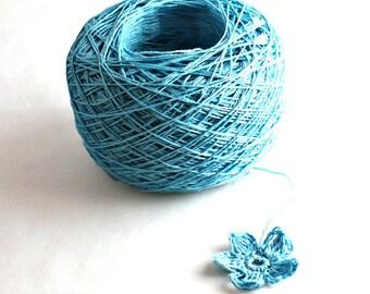Crochet Thread 3 Ply Linen Thread Light Teal Linen Yarn Natural Fiber Tatting Thread Specialty Thread