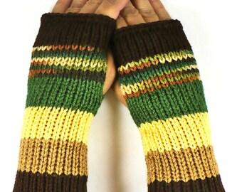 Knit Arm Warmers Knit Fingerless Gloves Knit Wrist Warmers Fingerless Mittens Knit Hand Warmers Green Yellow Beige Brown Knit Gloves