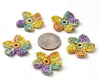 Crochet Applique Mini Flower Motif Flower Embellishment Crochet Flower Applique Crochet Motif Sage Purple Peach Yellow Crochet Flower Motif