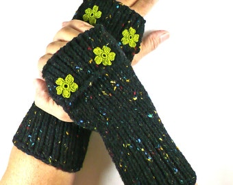 Knit Arm Warmers Knit Black Gloves Chartreuse Flowers Womens Armwarmers Cozy Gloves Warm Winter Gloves Winter Accessories