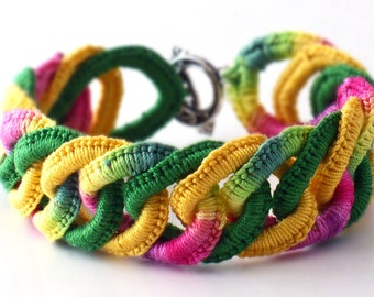 Irish Crochet Bracelet Fiber Bracelet  Faux Chainmail Bracelet Dark Pink Yellow Emerald Green
