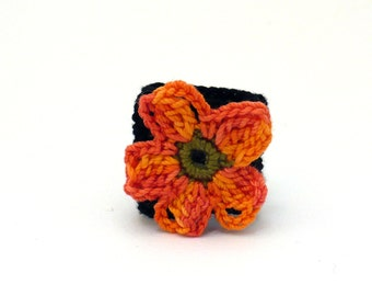 Crochet Ring Fiber Ring  Orange Flower Black Band