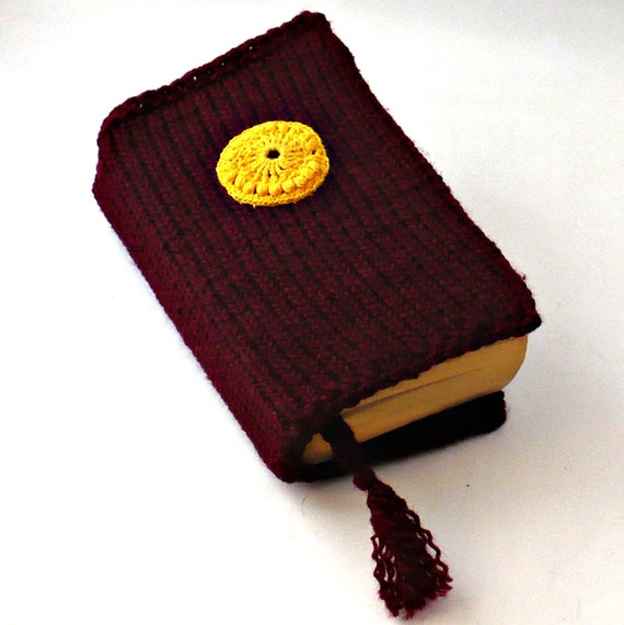 On Sale Marked Down 50% Knit Paperback Book Cover With Crocheted Medallion