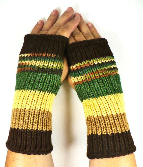 Knit Arm Warmers Knit Fingerless Gloves Knit Wrist Warmers Fingerless Mittens Knit Hand Warmers Green Yellow Beige Brown Knit Gloves
