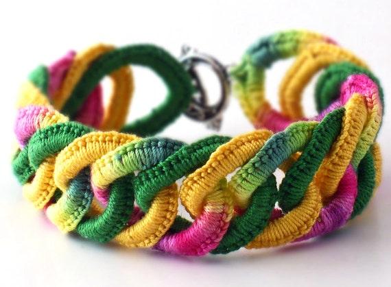 Irish Crochet Bracelet Fiber Bracelet  Faux Chainmail Bracelet Dark Pink Yellow Emerald Green