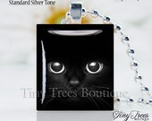 SALE- Recycled Scrabble Tile Resin Pendant- Black Cat Eyes