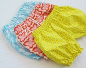 SET of THREE Bloomers Diaper Covers Pantaloons - mix and match your choice of fabrics - Newborn to 4T