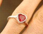 Valentin'es Day Gift - Heart Ring - Red Ruby