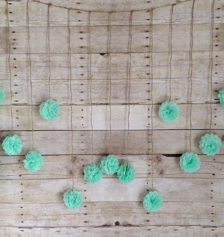 Seafoam green tissue paper flower wedding garland photography for Seafoam green home decor