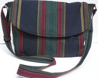 Original Handmade Navy Burgundy Stripe Fabric Messenger Bag Purse