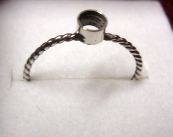 tube setting on twist band - ring blank base -  925 sterling silver custom made sized solid - tube setting is 3mm 4mm 5mm or 6mm