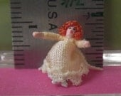 144th scale Woman in Pale Yellow  - micro-miniature, posable doll