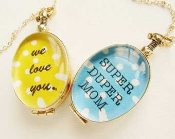 Personalized locket, Mother's day necklace, custom message pendant, we love you mom photo glass locket for Grandma