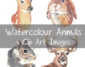 Watercolour Animals Clip Art - Doe, Deer, Squirrel, Stag Head, Rabbit, Digital Clip Art, Woodland Animals, INSTANT DOWNLOAD