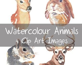 Watercolour Animals Clip Art - Doe, Deer, Squirrel, Stag Head, Rabbit, Digital Clip Art, Woodland Animals, INSTANT DOWNLOAD