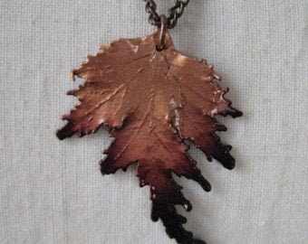 Leaf Copper Necklace Brass Vintage Pendant
