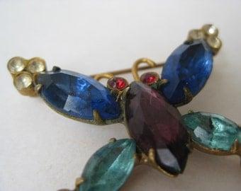 Butterfly Rhinestone Brooch Gold Blue Purple Vintage Pin