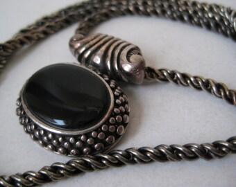 Black Onyx Sterling Silver Necklace Vintage 925