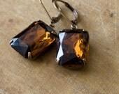 Brown Jewel Earrings . Estate Style Earrings . Smoky Topaz - Ellie