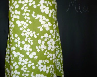 A-line SKIRT - Cherry Blossoms - Green linen mix - Made in ANY Size - Boutique Mia