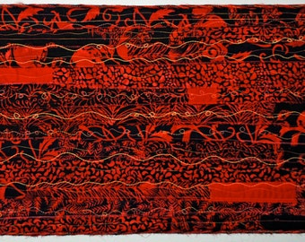 Red and Black Fiber Art Handmade Quilted Wall Hanging, One Of A Kind Quilted Wall Hanging