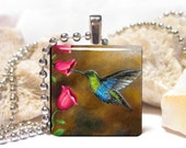 Wood Art Pendant 1x1 Cat 571 bird only Hummingbird Jewelry Necklace from art painting by L.Dumas