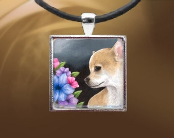 Handmade Glass Pendant Tray Dog 77 Chihuahua Jewelry Necklace from art painting by L.Dumas