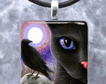 Art Glass Pendant 1x1 Jewelry Necklace Earrings Cat 570 crow raven Bird from art painting by L.Dumas